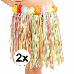 2x stuks hawaii jurkjes gekleurd 45 cm goedkoop voor dames