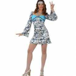 Blauw hippie jurkje goedkoop wijde mouwen