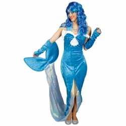 Blauw zeemeermin verkleed kostuum/jurkje goedkoop voor dames.