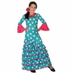 Blauwe Flamenco jurkje goedkoop voor meiden