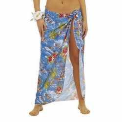 Blauwe hawaii verkleed sarong jurkje goedkoop voor dames