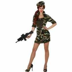 Camouflage soldaat verkleed kostuum/jurkje goedkoop voor dames