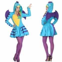 Dierenpak blauwe draak verkleed kostuum/jurkje goedkoop voor dames