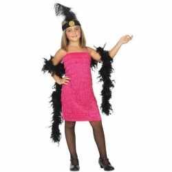 Flapper franje verkleed kostuum/jurkje roze goedkoop voor meisjes