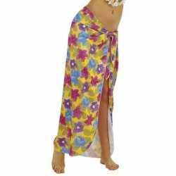 Gele hawaii verkleed sarong jurkje goedkoop voor dames