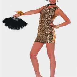 Gouden glitter jurkje goedkoop voor dames