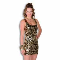 Gouden jurkje goedkoop panterprint