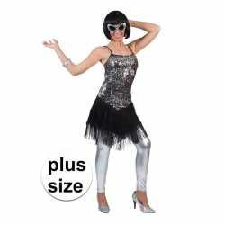 Grote maat zilver/zwart charleston verkleed jurkje goedkoop voor dame