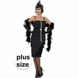 Grote maten zwarte jaren 20 flapper jurkje lang goedkoop voor dames