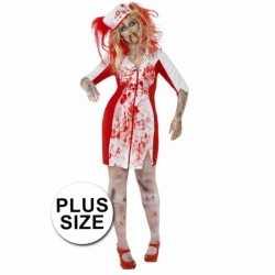 Halloween Grote maten zombie zuster jurkje goedkoop voor dames