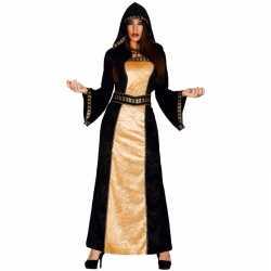 Halloween horror duistere vrouw jurkje zwart goedkoop goud
