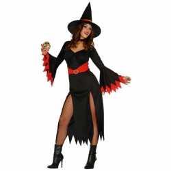 Halloween Zwarte lange heksen jurkje goedkoop rode details