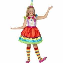 Kleurrijk clowns jurkje goedkoop voor meisjes