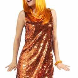 Oranje dames jurkje goedkoop pailletten