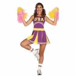 Paars/geel cheerleader jurkje goedkoop voor dames