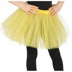 Petticoat/tutu verkleed jurkje geel glitters 31 cm goedkoop voor meis