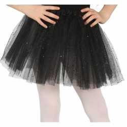 Petticoat/tutu verkleed jurkje zwart glitters 31 cm goedkoop voor mei