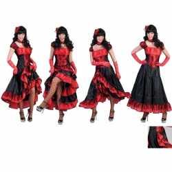 Rood goedkoop zwarte cancan jurk