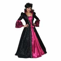 Roze/zwarte barok verkleed jurkje goedkoop voor dames