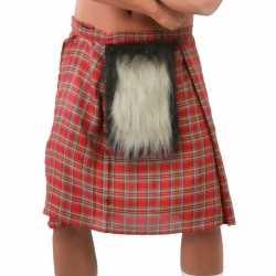 Set van 4x stuks schotse verkleed jurkken/kilts rood goedkoop bontje goedkoop voor heren