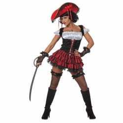 Sexy piraten jurkje zwart goedkoop rood