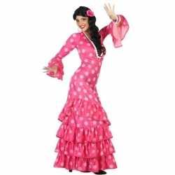 Spaanse flamencodanseres jurkje roze verkleed kostuum goedkoop voor d