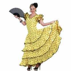 Spaanse flamencojurkje geel goedkoop zwarte stippen