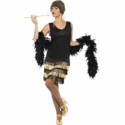 Zwart/gouden jaren 20 flapper jurkje goedkoop voor dames