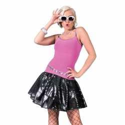 Zwarte disco seventies verkleed jurkje goedkoop voor dames