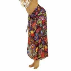 Zwarte hawaii verkleed sarong jurkje goedkoop voor dames